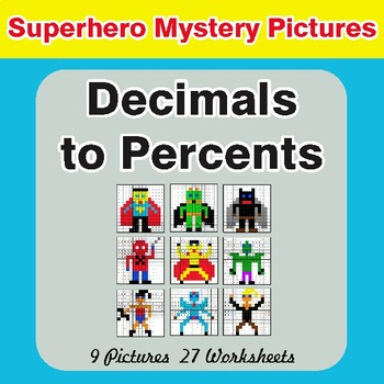Converting Decimals to Percents - Color-By-Number Superhero Math Mystery Pictures