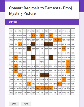 Converting Decimals to Percents - EMOJI Mystery Picture - Google Forms