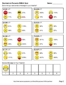 Converting Decimals to Percents Emoji Quiz
