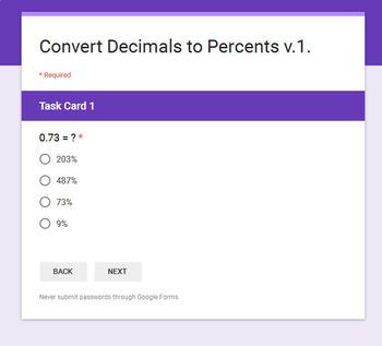 Converting Decimals to Percents - Interactive Digital Task Cards - Google Forms