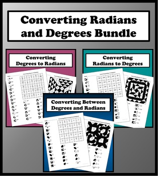 Converting Degrees and Radians Color Worksheet Bundle