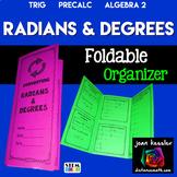 Trigonometry  Converting Degrees and Radians Foldable Orga