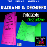Trigonometry  Converting Degrees and Radians Foldable Orga