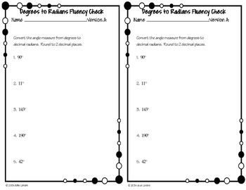 Converting  Degrees to Decimal Radians Fluency Check: No Prep