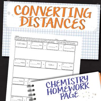 Converting Distance Measurements Chemistry Homework Worksheet