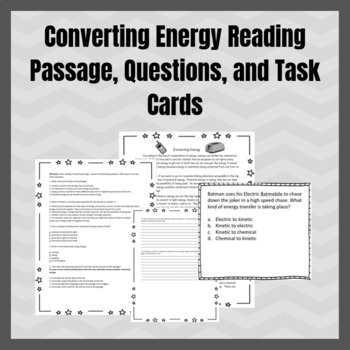 Converting Energy Reading Passage, Questions, and Task Cards Bundle!