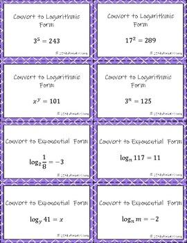 Converting Exponentials & Logarithms Sort