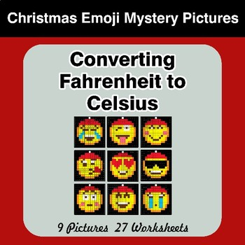 Converting Fahrenheit to Celsius - Christmas Emoji Math Mystery Pictures