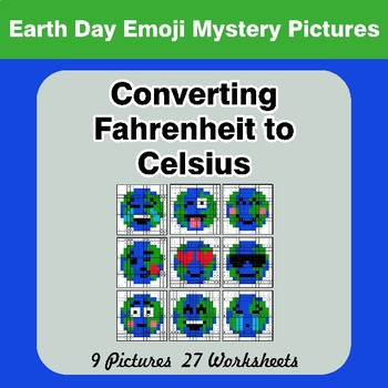 Converting Fahrenheit to Celsius - Earth Day Emoji Math Mystery Pictures
