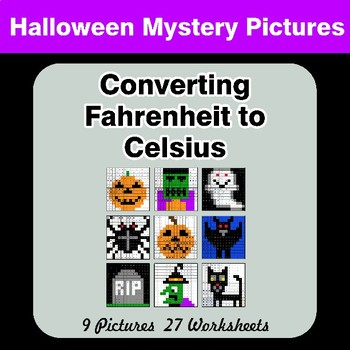 Converting Fahrenheit to Celsius - Halloween Mystery Pictures