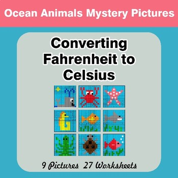 Converting Fahrenheit to Celsius - Ocean Animals Math Mystery Pictures