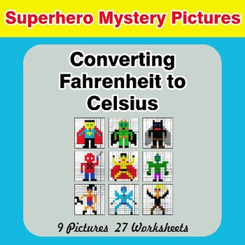 Converting Fahrenheit to Celsius - Superhero Math Mystery Pictures
