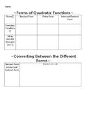 Converting Forms of Quadratics