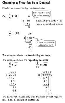Converting Fraction, Decimal, Percent Notes