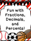 Converting Fraction Decimal Percents Sports Themed World Problems
