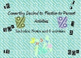 Converting Fraction Decimal and Percent Activities
