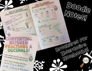 Converting Fractions & Decimals - Doodle Note Brochure for Interactive Notebooks