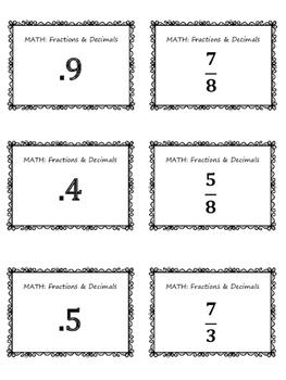 Converting Fractions & Decimals MATH Bingo