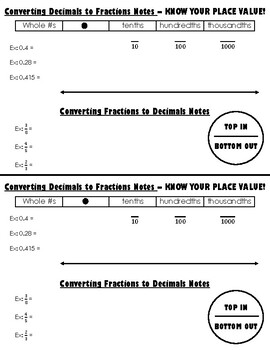 Converting Fractions & Decimals Note Page w/ Number Lines