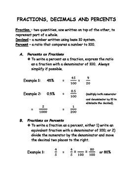 Converting Fractions, Decimals & Percents