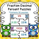 Converting Fractions, Decimals, Percents Activity Game Puzzles