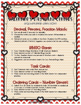 Converting Fractions, Decimals, & Percents Math Centers - Valentine's Day