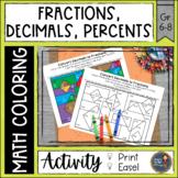 Converting Fractions Decimals Percents Math Color Pages
