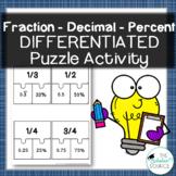 Converting Fractions, Decimals & Percents Puzzle Match Activity