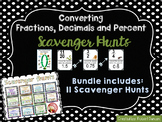 Converting Fractions, Decimals, & Percent Scavenger Hunt Bundle