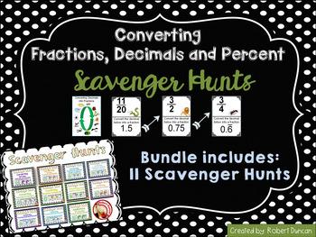 Converting Fractions, Decimals, & Percent Scavenger Hunt Bundle