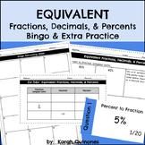 Converting Fractions Decimals and Percents Activity Bingo Word Problems Practice