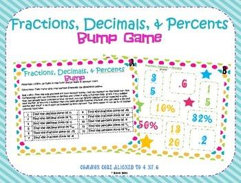 Converting Fractions, Decimals, and Percents Bump Game ~4.NF.6