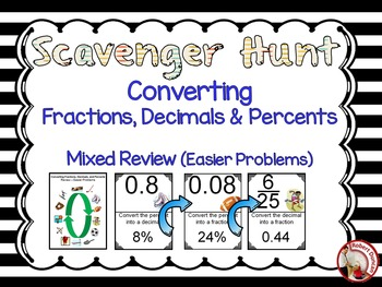 Converting Fractions, Decimals and Percents Mixed Review (Easier Problems)