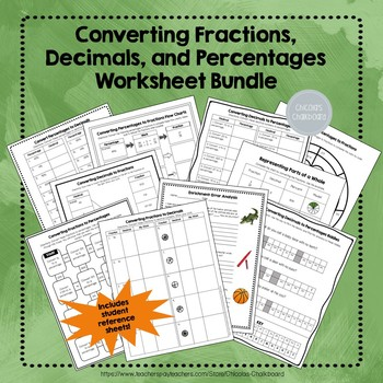 Converting Fractions, Decimals, and Percents Worksheet Bundle NO PREP