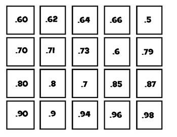 Converting Fractions & Decimals in Tenths & Hundredths Game 4.NF.C.5 & 4.NF.C.6