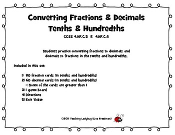 Converting Fractions & Decimals in Tenths & Hundredths Game