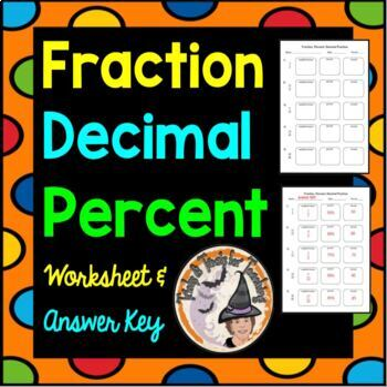 Converting Fractions Percents Decimals Convert FDP Worksheet with Answer KEY