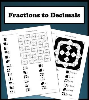 Converting Fractions To Decimals Color Worksheet