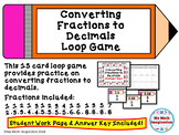 Converting Fractions To Decimals Loop Game