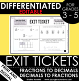 Converting Fractions and Decimals Exit Tickets - Different