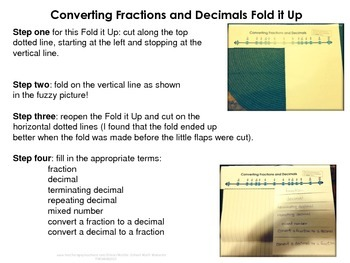 Converting Fractions and Decimals Fold it Up!