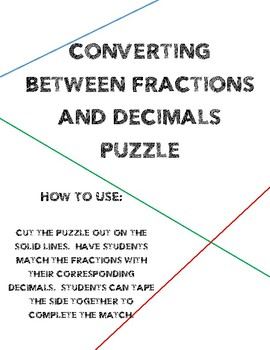 Converting Fractions and Decimals Puzzle