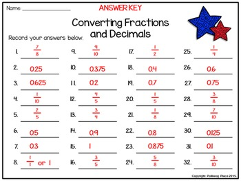 Fractions Task Cards: Converting Fractions and Decimals