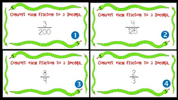 Converting Fractions and Decimals Task Cards