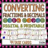 Converting Fractions and Decimals Task Cards | Distance Learning | Google