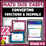 Converting Fractions and Decimals Task Cards Grades 4-5