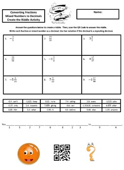 Converting Fractions and Mixed Numbers to Decimals Create the Riddle Activity