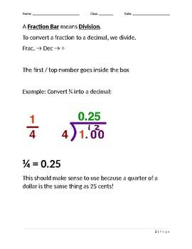 Converting Fractions into Decimals