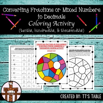 Converting Fractions or Mixed Numbers to Decimals Coloring Activity