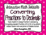 Converting Fractions to Decimals Interactive Math Foldable